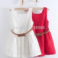 2014 summer new girls dress children Belt Lace Vest Dress Princess Girls dress red~white baby dress free shipping