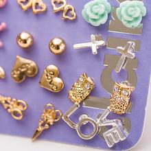 Claire fashion accessories stud earring pack set 20 pairs birdIcecream stars cross flower love heart gift