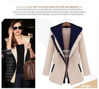 Free shipping 2014 fashion women chiffon blazers with cap turn-dawon collar patchwork women's coats clothing l1276