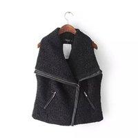 S/M/L Autumn winter 2015 new arrival loose plus size sleeveless women girl woolen cotton vest,Brand quality zippper jacket SALE
