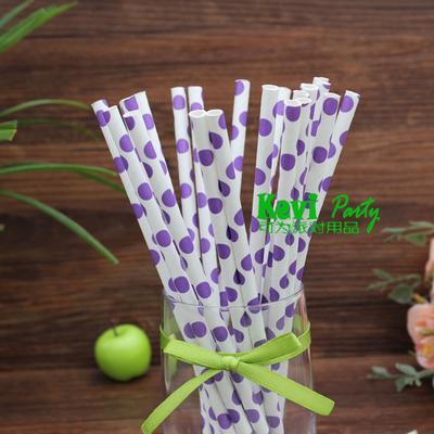 Paper Straw Purple Dots Colored Dot Paper Straws Wedding Party Pass FDA / EU Food-grade Testing(China (Mainland))