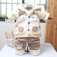 Children's wear fashion autumn suite 2014 stripe cartoon bear three piece set distribution join fashion factory direct