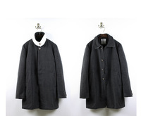Brand THOM  Classic Red white and Navy woolen collar single-breasted wool coat warm coat slits Windbreaker jacket