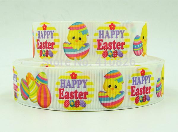 WM ribbon 1inch 25mm 141214009 Happy Easter Printed grosgrain ribbon 50yds/roll free shipping(China (Mainland))