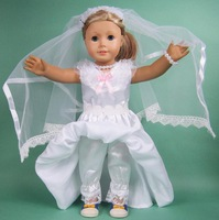"Free shipping!!! hot 2014 new style white wedding  Popular 18"" American girl doll dress clothes"