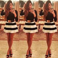 2014 new Fashion European Style Long Sleeve White Black Stripe Dresses Black Tunic Party dresses Cute  Vestidos Dress