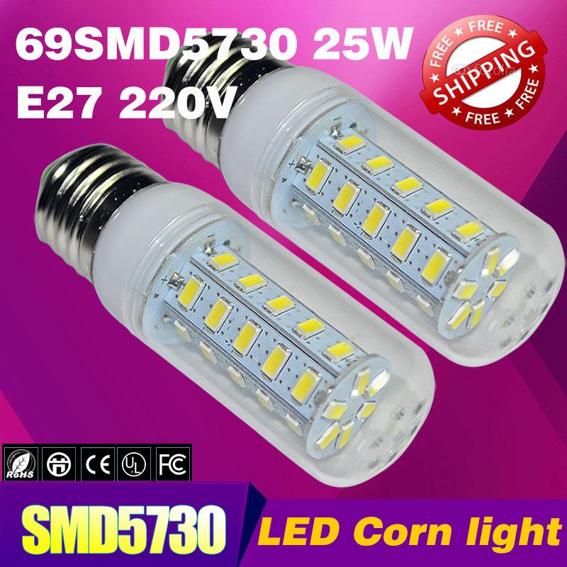 Hot vente 25w smd5730 69 e27 led ampoule led blanc chaud/blanc, e27 220v smd. 5730 lumière de maïs conduit lampe, lampe, livraison gratuite