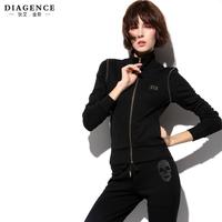casual dressDiagence winter set jemmied diamond slim 100% cotton long-sleeve casual sports set female