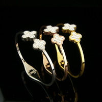 High Quality Full Rhinestone CZ Double Clover Rose Gold / Platinum / Gold Plated 316L Stainless Steel Cuff Bangle