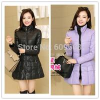 free shipping! women's winter thick duck down medium length coat parkas warm stand collar jacket parkas purple black 10292