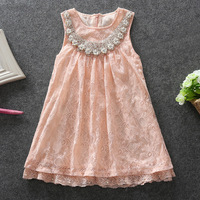 Hot sales Girls Lace Dress 2015  Summer New Fashion Brand  High-grade Cotton Pink Pearl Collar Elegant Princess Dresses 5pcs/lot