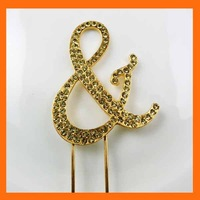 Free Shipping ! 50pcs/lot letter & gold rhinestone cake topper for wedding