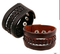 Braided leather bracelet new retro punk  jewelry for men and women first layer of leather bracelet