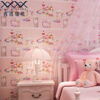 Wallpaper natural eco-friendly pure paper, cartoon child princess real pink wallpaper