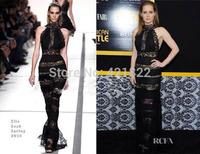 2015 new arrival high quality black long maxi lace bandage Celebrity dress Party Evening Dresses HL