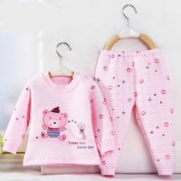 Children's cartoon underwear sets , baby cotton autumn and winter thermal underwear , thick shoulder buckle baby underwear sets