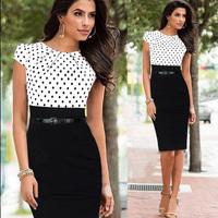 Plus Size S-XXL Drop Shipping 2014 New Fashion Summer Women Elegant Slim OL Belt Celebrity Bodycon Pencil Party Evening Dresses