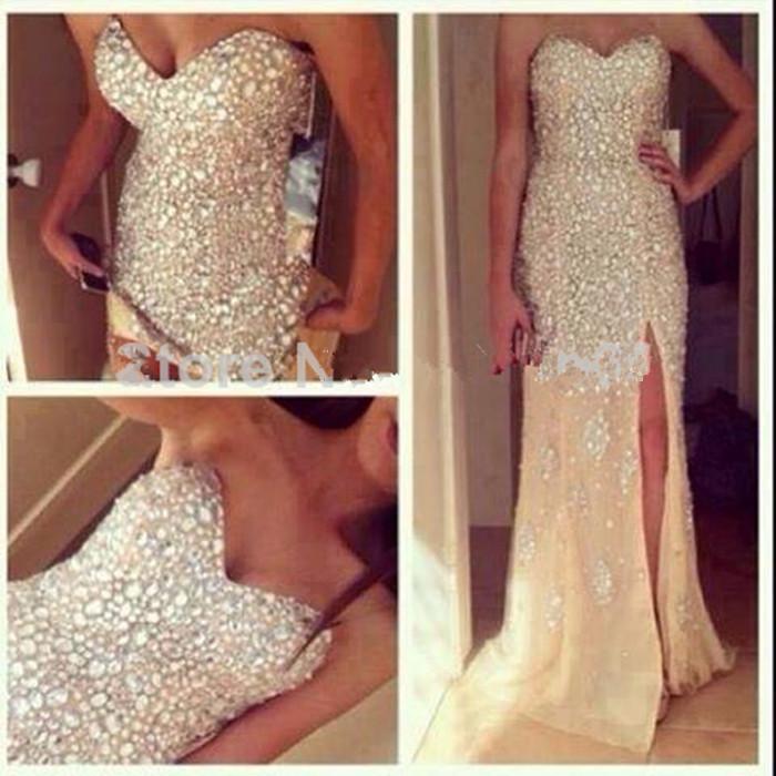 Длинные платья с камнями
