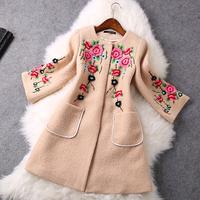 2014 High quality Fashion Three-dimensional embroidery wool coat jacket winter coat women coat