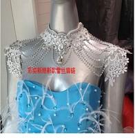 New high-end luxury bride wedding dress shoulder chain necklace lace shoulder chain tassel accessories dress epaulets