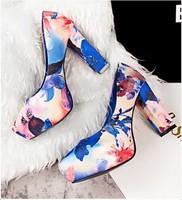 2015 New Fashion Women's High Heels Chunky Heels Platform Womens Pumps PU Leather Sexy Ladies Print Shoes Wholesales