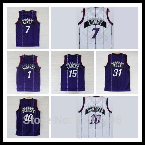 Mens Basketball Jersey #1 #7 Lowry #10 DeRozan #15 Throwback Rev 30 плавки мужские lowry цвет черный фиолетовый msb 1 размер l 48