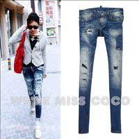 MISS COCO 2014 Autumn/ Winter Hot Vintage Paint Smudge Holes Ripped Patchwork Skinny Denim Jeans Pencil Pants for Ladies Women