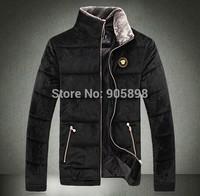 2015 new arrive fashion slim men's jacket Casual Velvet Fur collar men's coat mens clothing plus size cotton coat black 3512