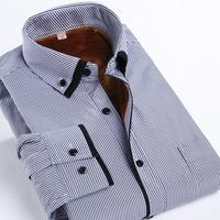 High Quality Winter Warm Shirt Striped Flannel Long Sleeve Casual Shirt Business Work Wear Men Dress Shirt