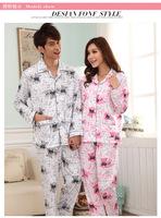 New winter pajamas couple knitted cotton cardigan Men Women Pyjamas cartoon teddy bear pajamas piece
