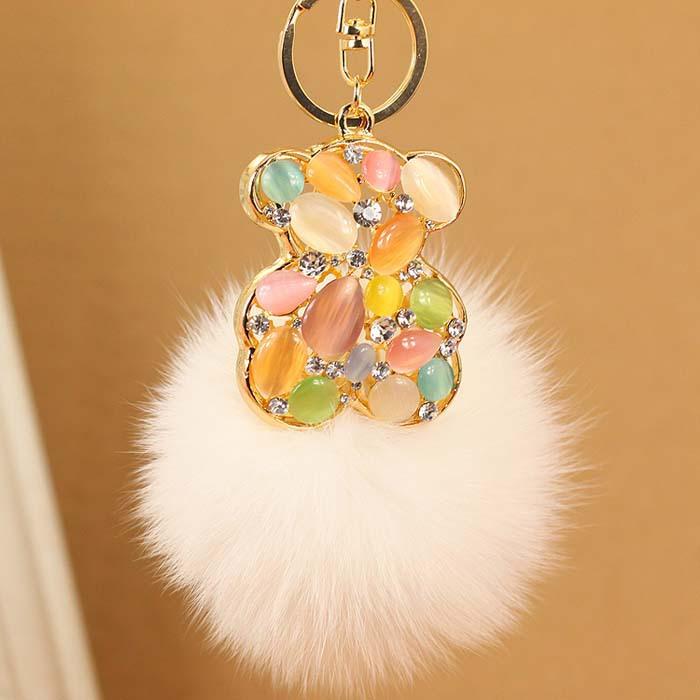 Key chain bear style crystals & opal keychain jewellery brand rabbit fur car key rings novelty Souvenir women(China (Mainland))