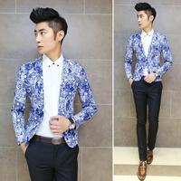 2014 New Fashion Mens Vintage Slim Custom Fit Print Strange Pattern Casual Dress Suit Blazer