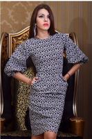 hot sale women  2014 new fall fashion ladies dress round neck Puff printing work wear knee-length dress free shipping