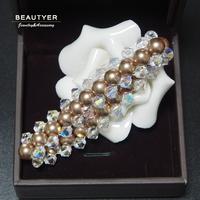 Christmas Gift Women Bohemia Elastic Simulate Shell Pearl Crystal Bead Strand Bracelets 3 Layered Pearl Jewelry Beautyer BSL13