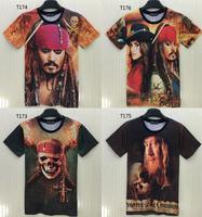 (Alice)2015 new t-shirt short sleeve O-Neck Pirates of the Caribbean print 3d t shirt men tshirt T173-T176 free shipping