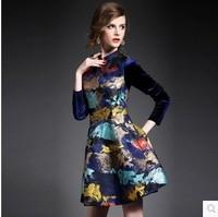 2014 autumn and winter women fashion jacquard velvet patchwork stand collar a-line skirt