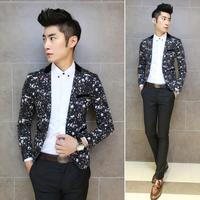 2014 New Fashion Mens Vintage Slim Custom Fit  Print Star Casual Dress Suit Blazer
