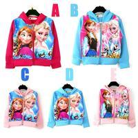 Retail  frozen clothes gril kids coat ,cartoon hooded zipper jacket gril children clothes