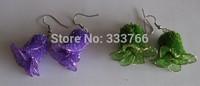 Free Shipping DIY Nylon stocking flowers screen-flowers Earrings 50pcs/lot