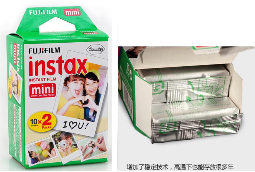 New packaging 20pcs Fuji Fujifilm Instax Mini Film Twin Pack shoot Photo Paper for Instant Camera 7s 8 25 50s 50i 55i(China (Mainland))