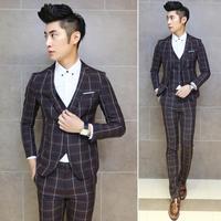 New Arrival!!! Men's Fashion Slim Fit Plaid Print Casual Blazer Men Single Button Design Wedding Dress Suit For Men