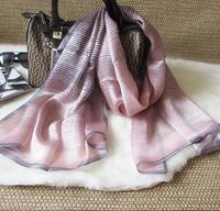 women's silk scarf Plain brief gradient striped mulberry silk Wrap Shawl fashion  long design 170*65cm 3 colors