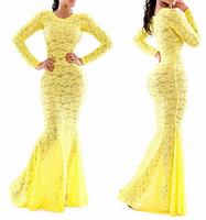 2014 new fashion sexy lace bandage dress yellow long dress Free Shipping WD16