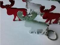 Wholesale free shipping: elk wapiti keychain bottle opener,can provide custom logo printing, 1000pcs/lot