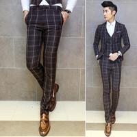 New Arrival!!! Men's Fashion Slim Fit Plaid Print Casual Trousers Men Design Wedding Dress Suit Pants For Men