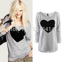 2015 new Chic Women Heart Printed Crewnecks Long Sleeve shirt Casual Cotton Blouse Size S M L XL