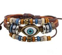 BA172 Wholesale Handmade Color Turkish Eye Leather Adjustable Bracelet Wristband Jewelry Bijouterie Unisex Girls Woman