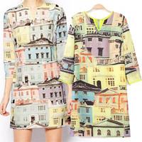 New Elegant Casual Dress Three Quarter Sleeve Printed Summer Women Dress 2015 Brand Design One-piece Dress