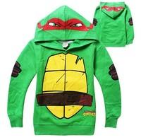 2015 New Arrival Free shipping children boy Teenage Mutant Ninja Turtles long sleeves hoodies sweater top  green