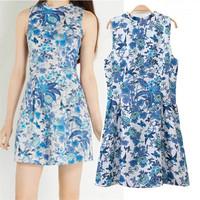 Free Shipping New Retro Vintage Casual Women Dress Floral Printed Sleeveless Summer Dress 2015 Slim Wasit Bodycon Women Dresses
